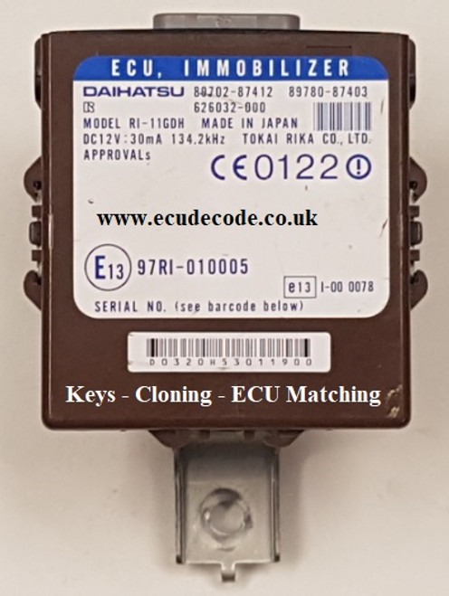 89702-87412 / 89780-87403 Cloning - Key Transponder production - ECU Matching Service