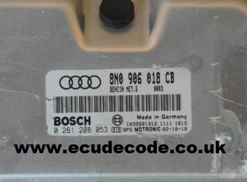 0 261 208 053 / 0261208053 / ME7.5 / 8N0906018CB Audi TT 1.8T Engine Code BAM ECU Cloning - Immobiliser Bypass Services.