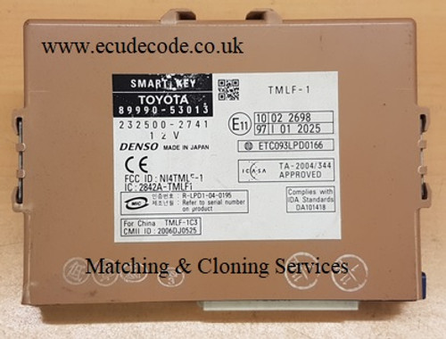 89990-53013 / 232500-2741 Smart Key Box Cloning - Matching - Transponder Production Services From ECU Decode Limited