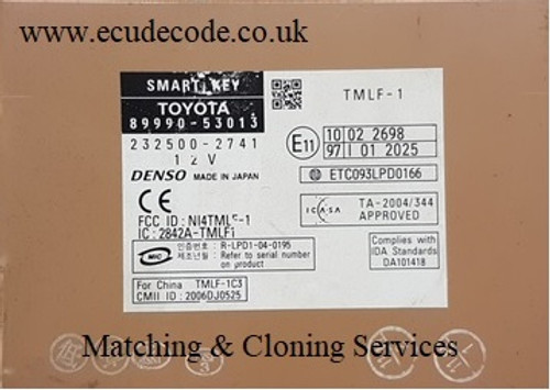 89990-53013 / 232500-2741 Smart Key Box Cloning - Matching - Transponder Production Services From ECU Decode Limited Tel: 01373302412