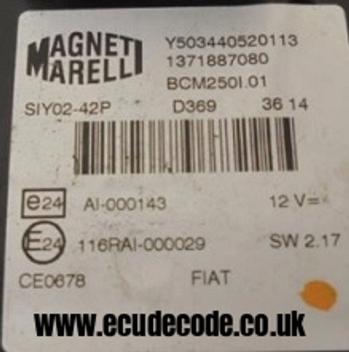 Y503440520113 / 1371887080 / BCM250l.01 Magnetti Marelli BSI Key Transponder Chip Production - Pin Decodeing Services