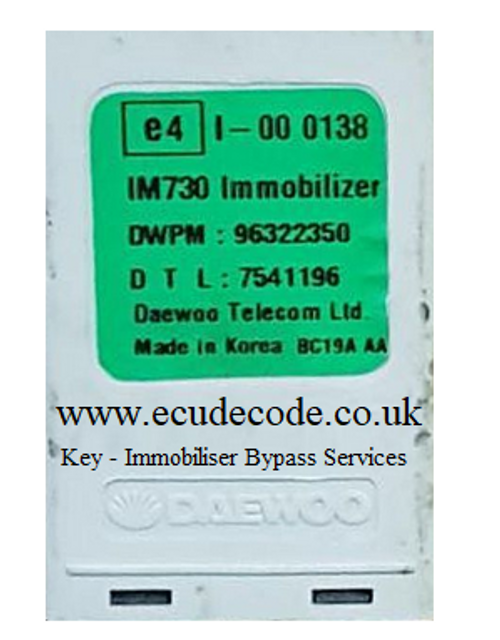 96322350 Daewoo - Chevrolet Matiz Immobiliser Box - Key Transponder Production - Immobiliser Bypass From ECU Decode Limited
