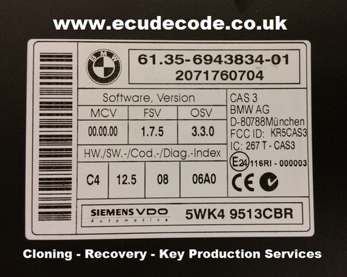 61.35-6943834-01 5WK49513CBR CAS3 Cloning Recovery Key Production Services From ECU Decode Limited UK Specialist Company.