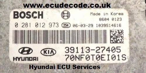 0281012973, 39113-27405, 70NF0T0EI01S, EDC16C39, Hyundai Sonata Cloning - Decoding Services ECU Decode Limited