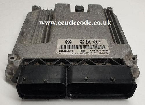 0281010731 | 03G906016A | EDC16U1 | VW Touran - Caddy 1.9 TDI Plug & Play ECU From ECU Decode Westbury Wiltshire