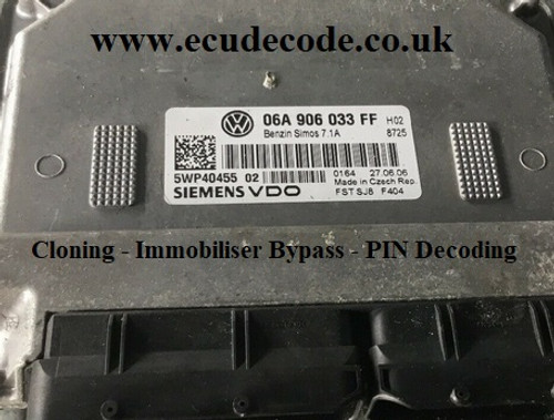 06A906033FF | 06A 906 033 FF | 5WP40455 02 | Simos 7.1A Seat Leon 1.6 Petrol ECU Plug & Play Services Including Cloning - Immobiliser Bypass & PIN Decoding From ECU Decode UK
