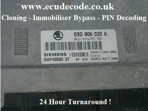 03D906032A | 03D 906 032 A | 5WP40060 07 | 5WP4006007 | Simos 3PD Skoda Fabia Petrol ECU Plug & Play Services ECU Decode Westbury Wiltshire