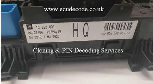 13228831 | SW 0912 | HW 0027 | HQ | 5DK008669-53 | Hella REC - Cloning - Decoding PIN Services ECU Decode Limited