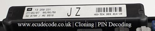 13250231 | JZ | 5DK009464-20 | UPC | Astra H - Zafira B Plug & Play Cloning - PIN Decoding Service ECU Decode Westbury Wiltshire GB