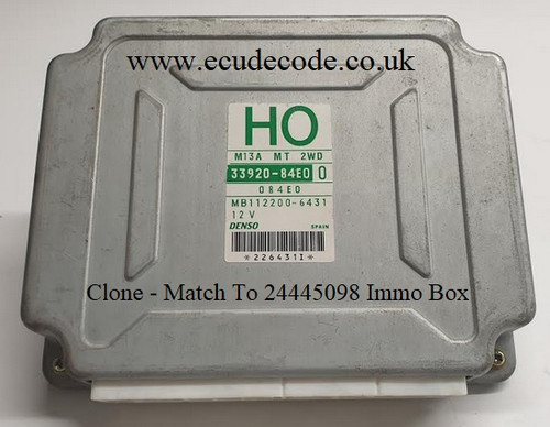 33920-84E0 | H0 | M13A MT 2WD | MB112200-6431 Suzuki Wagon R Plug & Play ECU - Clone Or Match To Immobiliser Box 24445098 LS From ECU Decode Westbury Wiltshire GB