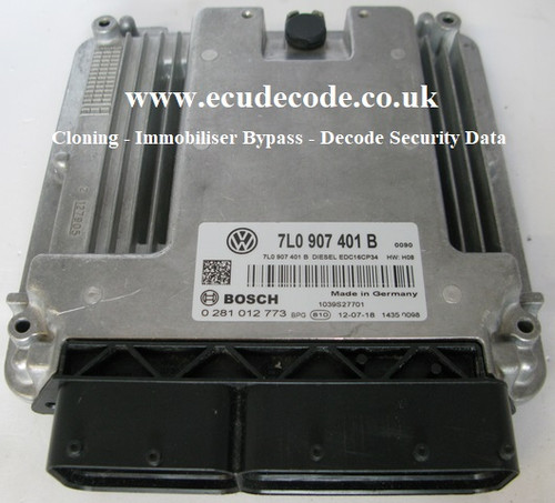 0281012773 | 7L0907401B | EDC16CP34 | VW Touareg TDI Plug & Play - Clone - Immobiliser Bypass Services & Security Data Decoding From ECU Decode UK