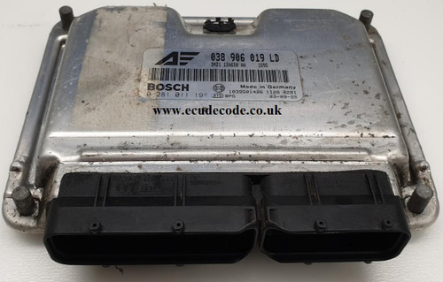 038 906 019 LD, 038906019LD, 0 281 011 198, 0281011198, VW SHARAN, FORD GALAXY 1.9 TDI Diesel Engine ECU Cloning or Immobiliser Bypass Included.