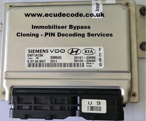 5WY1A13A | SIMK43 | 39101-23890 | 39120-23490 | Hyundai Coupe 2.0 ECU Cloning  & Immobiliser Bypass.