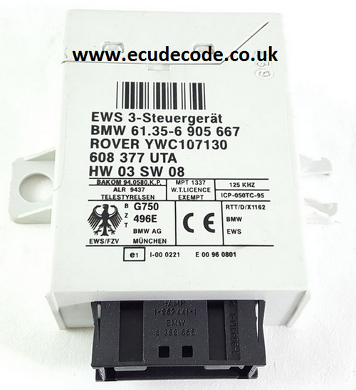 61.35-6905667  / 61356905667 /  608377.15  / HW03 / SW08  / EWS3  Plug & Play From ECU Decode Limited.