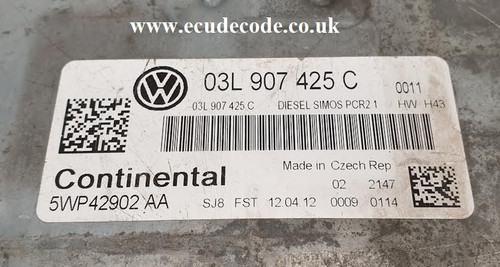 03L 907 425 C | 03L907425C | 5WP42902AA | 1,6l R4 CR td | H43 9196 | SIMOS PCR2.1 VW Passat Plug & Play ECU With Security Data Cloned or Matched To CCM - ECU Decode Limited - Westbury - Wiltshire Tel: 01373 302412