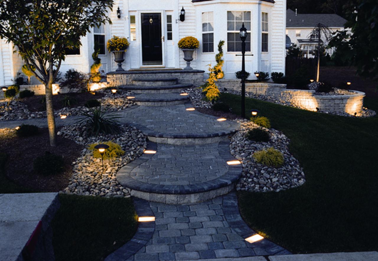 pillar and steps lights for under wall Wallter Kerr Lighting tan