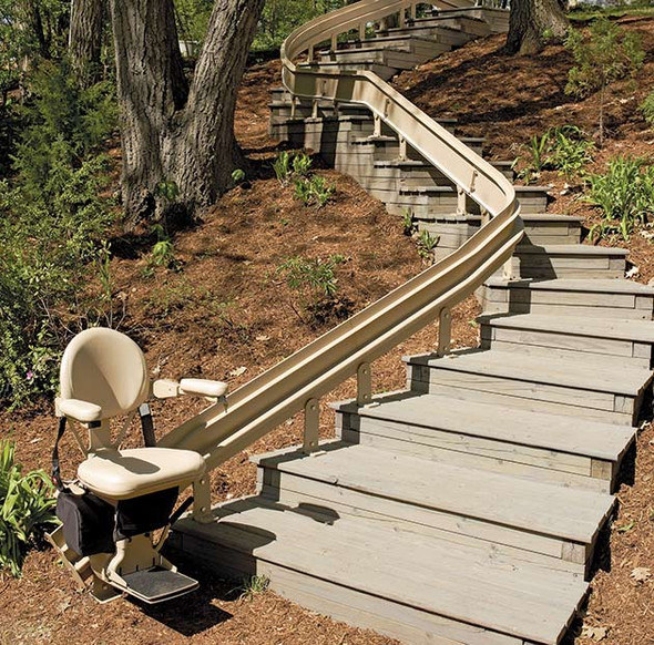 Elite Outdoor Curved Stair Lift by Bruno