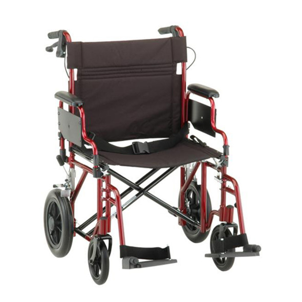 "Nova 332 Transport Chair 22"" with Hand Brakes"