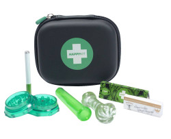 Happy Kit Deluxe w/ Glass Pipe, Acrylic Grinder, Herb Tube, Cig Bat, 1.25 Papers & Tips all in a Carrying Case