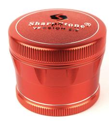 """SharpStone 4-Piece V2 Grinder Pollinator Colored 2.2"""" - Red"""