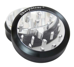 "SharpStone 2-Piece Grinder Glass Top Colored 2.5"" - Black"