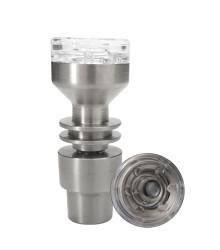 OMNI HQ Hydrid Titanium w/ Quartz Top Domeless Nail - 14/19mm Male