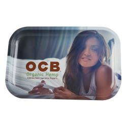 """OCB 11"""" x 7.5"""" Medium Metal Rolling Tray - Organic Hemp"""