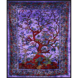 """84"""" x 100"""" Double Tapestry - Purple Tree of Life"""