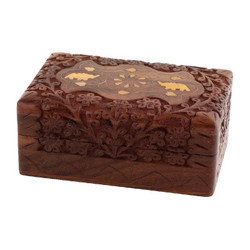 "6"" x 4"" Carved Wooden Box w/ Elephant Inlay"