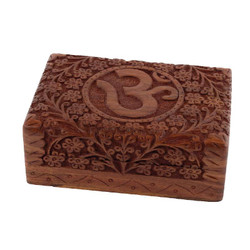"7"" x 5"" Carved Wooden Box – OM"