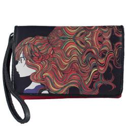 "Erbanna 7.5"" x 5"" x 1.5"" Smell Proof Bag w/ both Crossbody & Wristlet Strap - KAM - Autumn Print, Girl & Rainbow Hair"