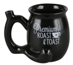 Premium Roast & Toast Ceramic Mug w/ Pipe - Small – Black