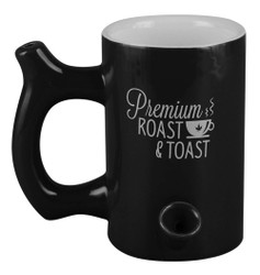 Premium Roast & Toast Ceramic Mug w/ Pipe - Glossy Black