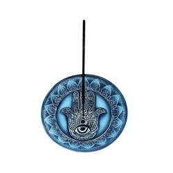 Blue Hamsa Hand Round Incense Burner