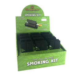 "Smokit w/ Grinder, Bat & Tool - Display of 12 - 2.5"" x 1.5"" x 0.5"" - Black"