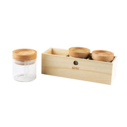 RYOT Jar Box w/ 3 Clear Jars and Beech Tray Lid