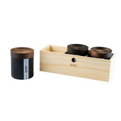 RYOT Jar Box w/ 3 Black Jars and Walnut Tray Lid