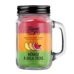 Beamer Candle Co. Menage a Mela-Trois 12oz Glass Mason Jar