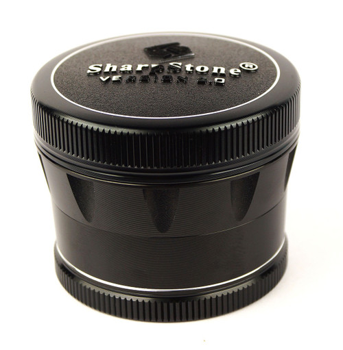 """SharpStone 4-Piece V2 Grinder Pollinator Colored 2.2"""" - Black"""