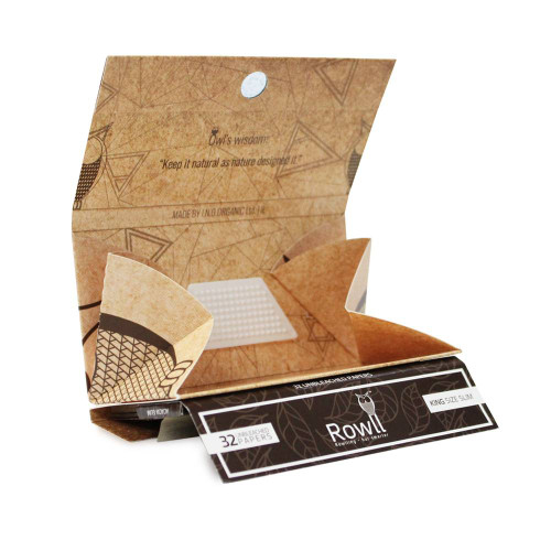 Rowll Unbleached King Size Extra Slim Rolling Papers w/ Filters, Grinder & Rolling Surface