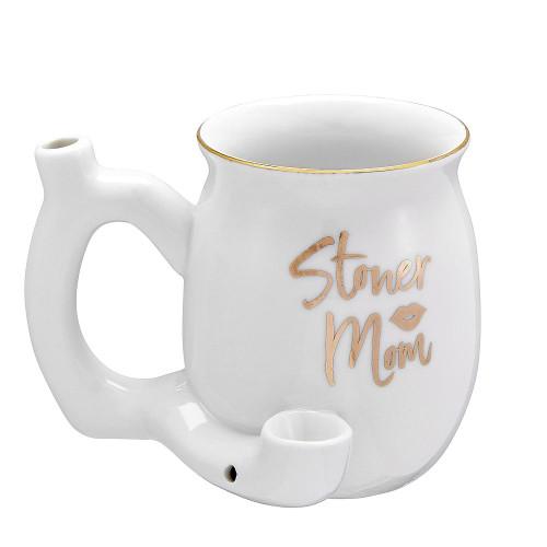 Premium Roast & Toast Ceramic Mug w/ Pipe - Stoner Mom - White