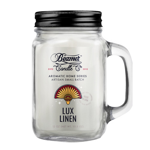 Beamer Candle Co. Lux Linen 12oz Glass Mason Jar