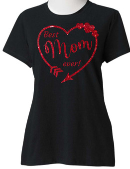 ENJOY EVERYDAY LIFE, SUGARBEAR'S UNISEX Red Glitter Heart Best MOM Ever Mother's Day tshirt