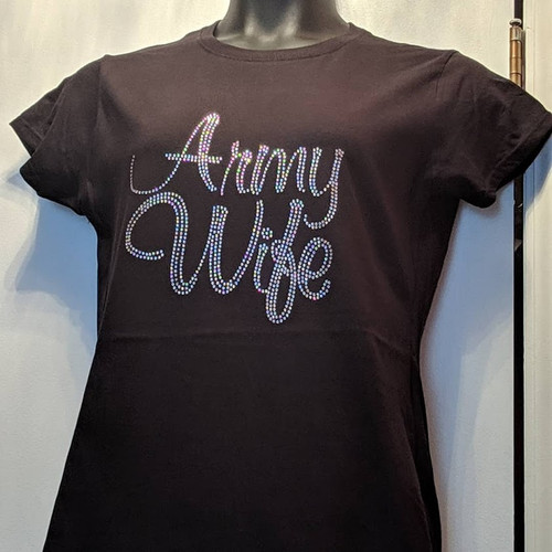 Rhinestone Army Wife Clear/JUNIOR FIT SM, LG ONLY