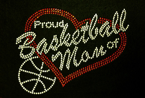 Rhinestone Basketball Proud Mom Of  Players Custom Number