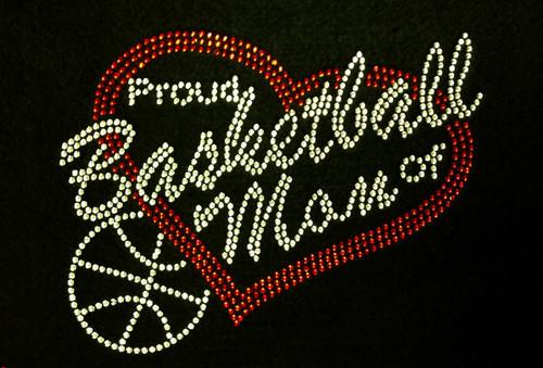 Rhinestone Basketball Proud Mom Of Players Custom Number