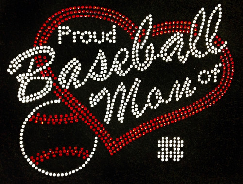 Rhinestone Proud Baseball Mom Of Players Custom Number