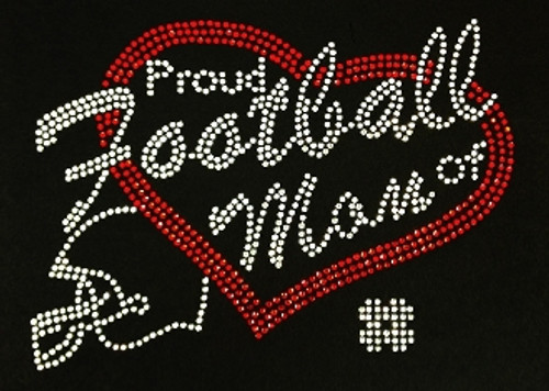 Rhinestone Proud Football Mom Of Players Custom Number