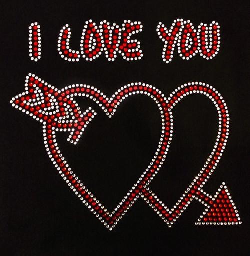 Rhinestones I Love You double hearts