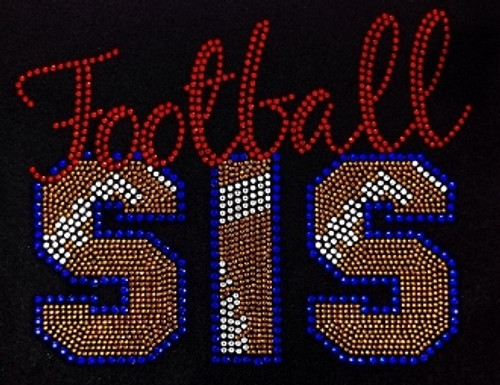 Rhinestone Football Sis Stitches